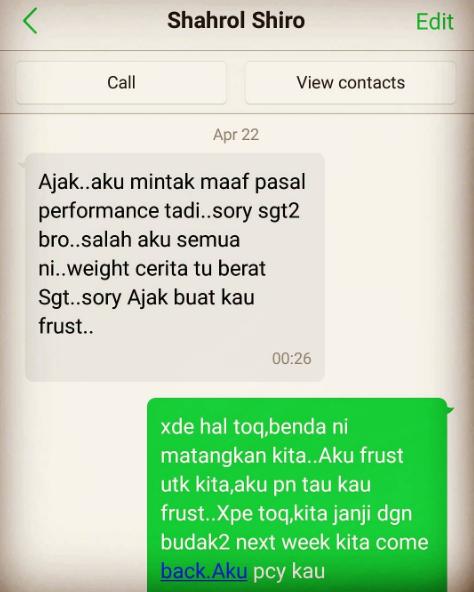 ajak shiro sebak baca mesej whatsapp shahrol 2