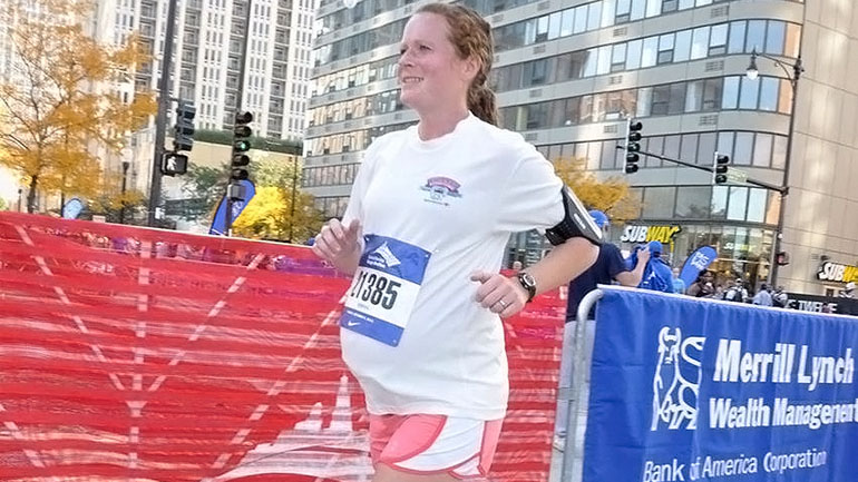 amber miller menyertai maraton ketika hamil mengandung