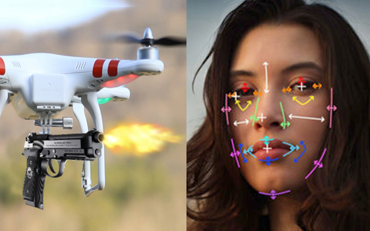 armed drone face recognization