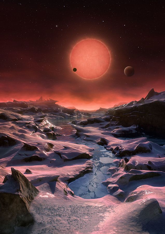 artist s impression of the ultracool dwarf star trappist 1 from the surface of one of its planets 760