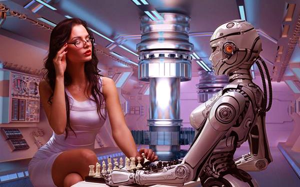 awek cantik main catur dengan robot perempuan