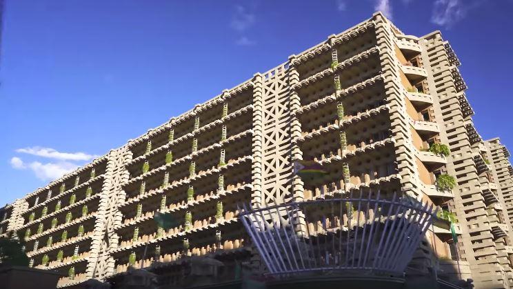 bangunan eastgate center di zimbabwe