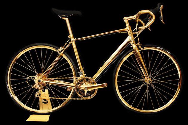 basikal emas 7 item pelik yang dihasilkan dan disalut emas 950