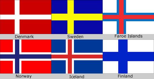 bendera negara nordic iceland norway finland denmark faroe islands sweden