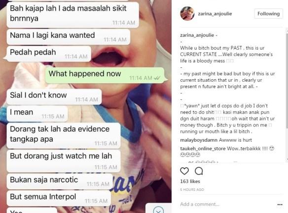 berperang di instagram bekas suami dedah rahsia mengejutkan zarina anjoulie 3