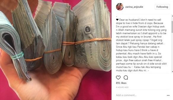 berperang di instagram bekas suami dedah rahsia mengejutkan zarina anjoulie 4