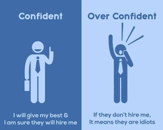 biar confident semasa temuduga tapi jangan sampai overconfident