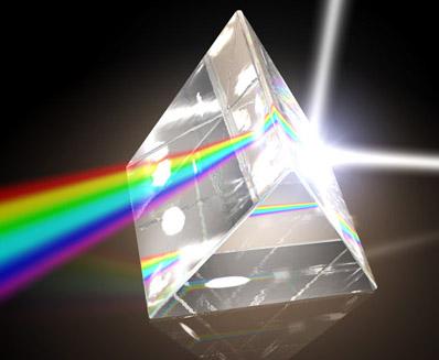 bongkah prisma membengkokkan cahaya menjadikannya warna pelangi
