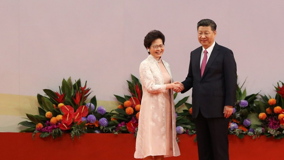 chief executive hong kong carrie lam dan presiden china xi jinping