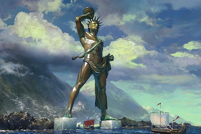 colossus of rhodes tugu keajaiban dunia seven wonders