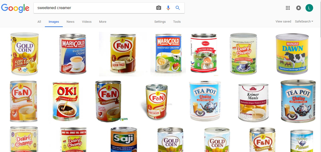 cuba google sweetened creamer atau krimer manis semuanya produk malaysia