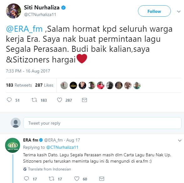 datuk siti nurhaliza minta radio putarkan lagu sendiri di twitter 1