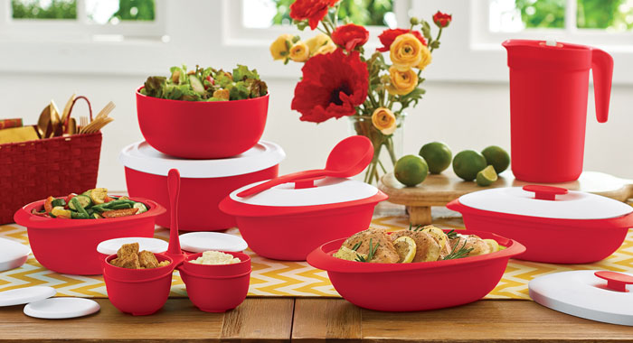 design menarik tupperware warna merah