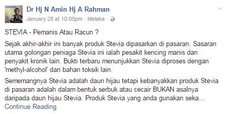 Doktor ini dikecam netizen kerana mengatakan stevia tidak baik untuk kesihatan