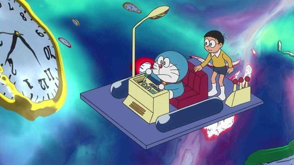 doraemon dan nobita menggunakan mesin masa