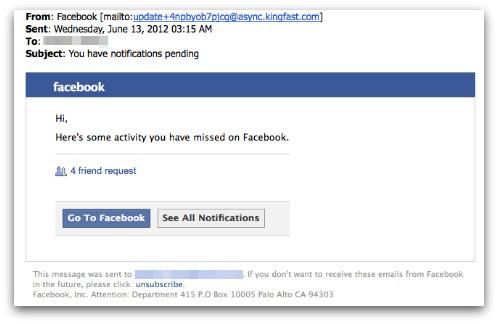 fake facebook email