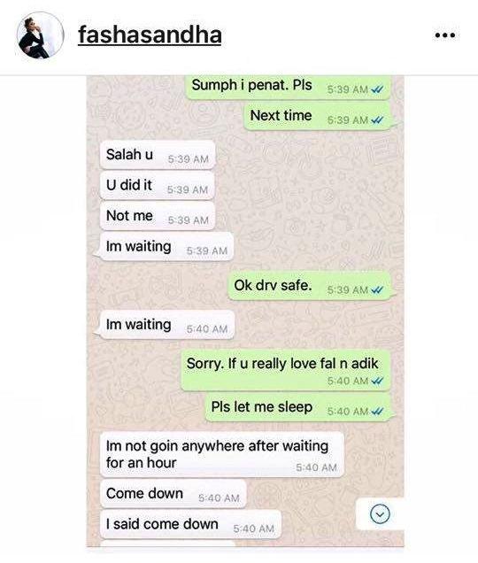 fasha sandha dedah bukti perbualan whatsapp jejai yang mengejutkan 2