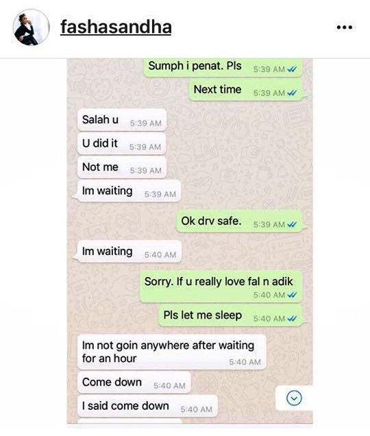 fasha sandha dedah bukti perbualan whatsapp jejai yang mengejutkan 5