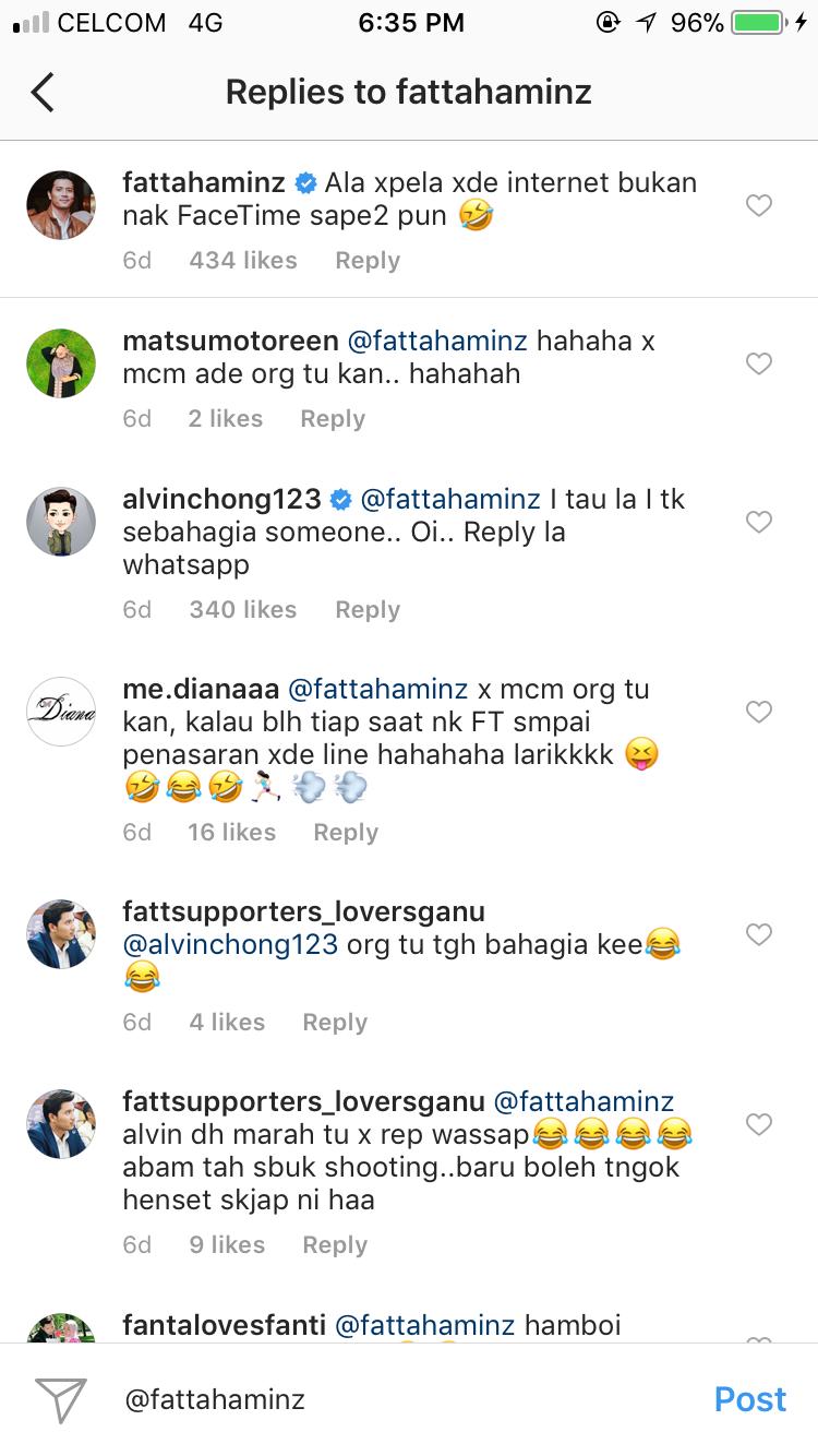 fattah amin kenakan alvin chong di instagram 2
