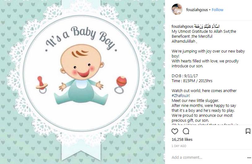 fouziah gous selamat lahir anak kedua 2