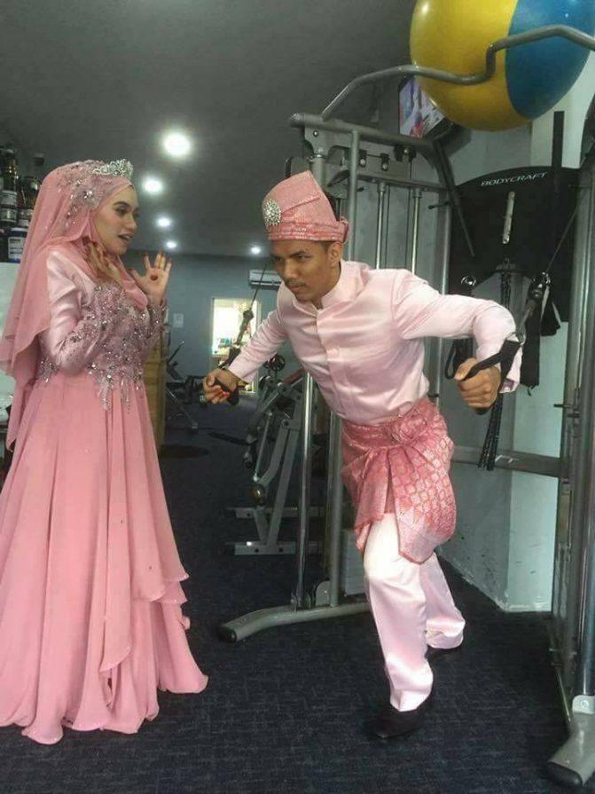 gambar kahwin pengantin di gym 10