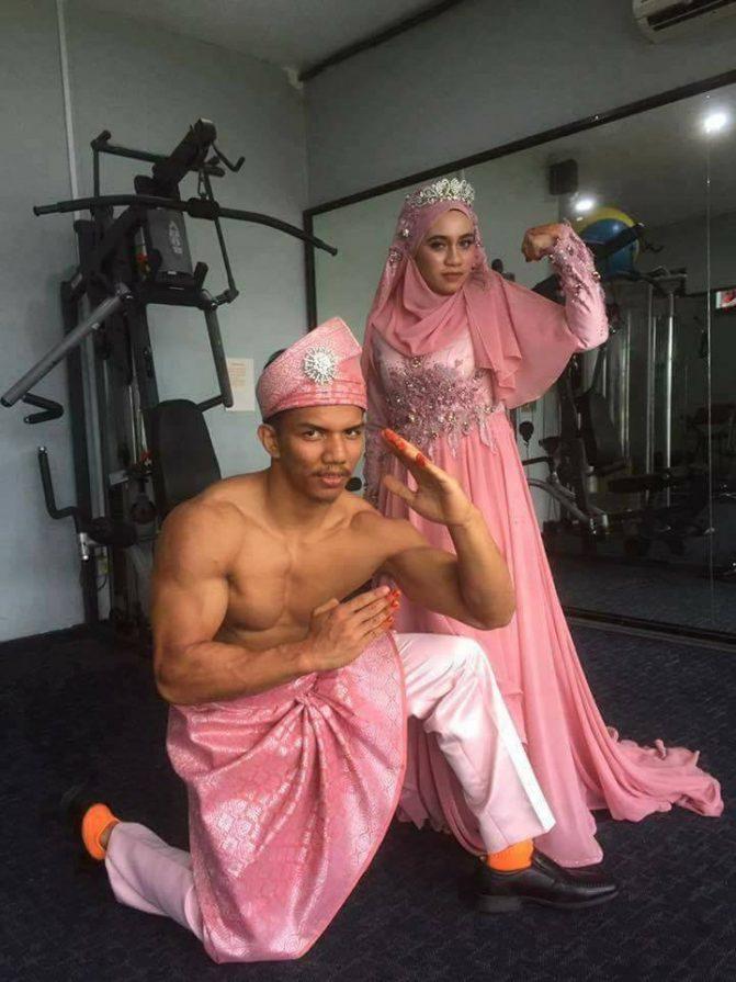 gambar kahwin pengantin di gym 2
