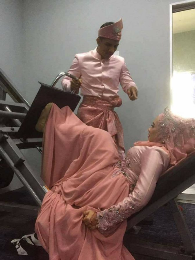 gambar kahwin pengantin di gym 4