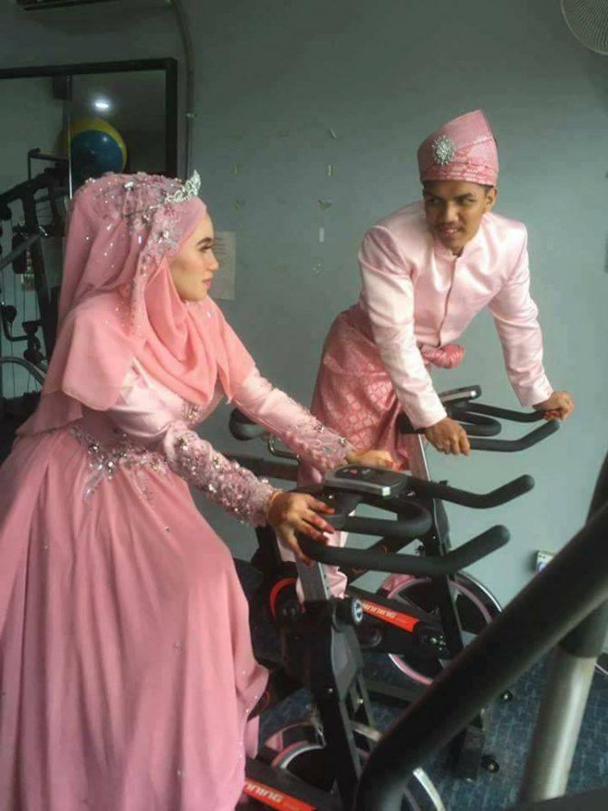 gambar kahwin pengantin di gym 5