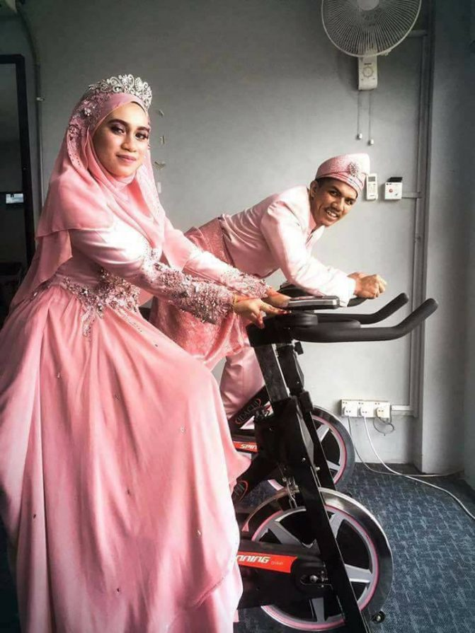 gambar kahwin pengantin di gym 6