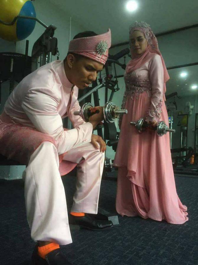 gambar kahwin pengantin di gym 7