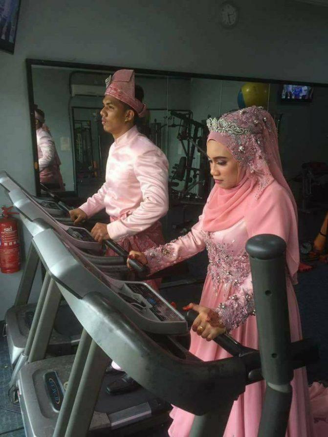 gambar kahwin pengantin di gym 9