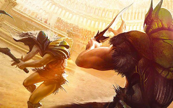 gladiator bertarung di colosseum