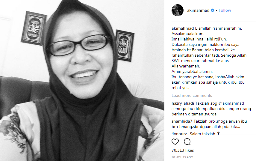 ibu akim ahmad meninggal dunia 2