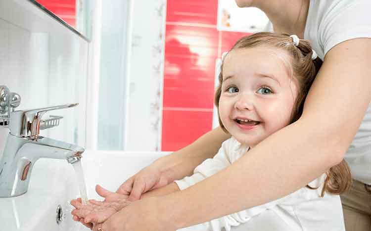 iluminasi basuh tangan sabun teknik