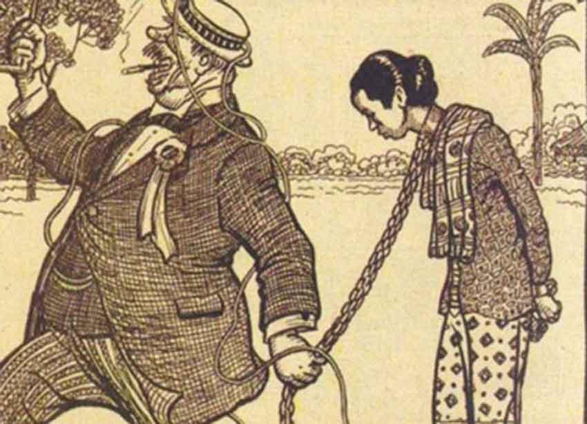 ilustrasi penjajah kawal wanita indonesia