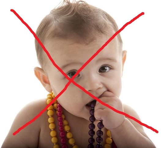 jangan beri anak rantai teether seperti ini kerana sangat bahaya