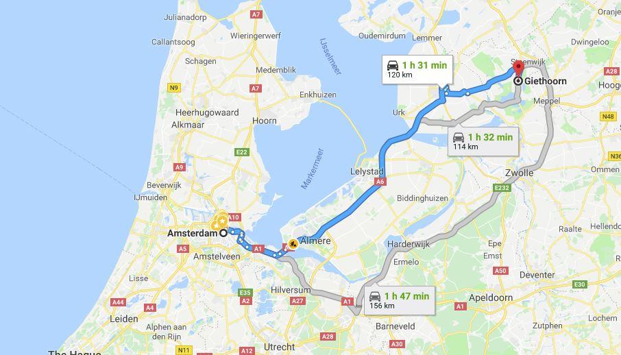 jarak giethoorn dan amsterdam
