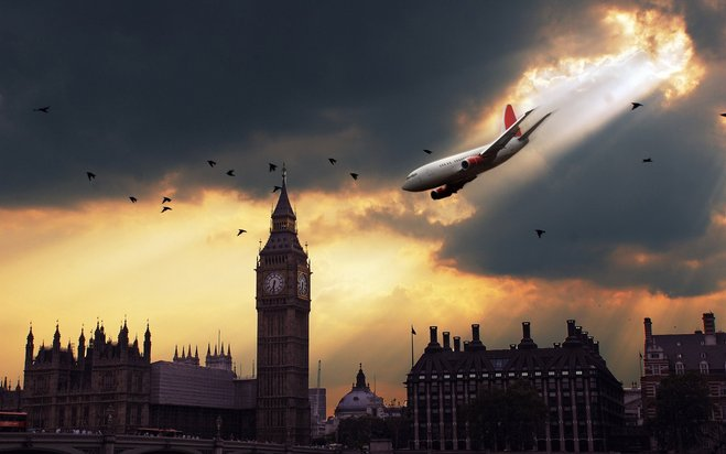 kapal terbang terjunam bumi besar