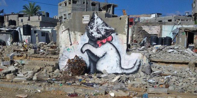 karya lukisan banksy di gaza