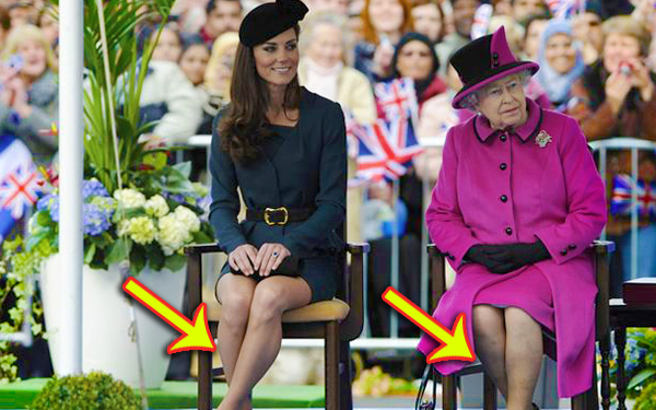 kate middleton dan queen elizabeth duduk silang kaki