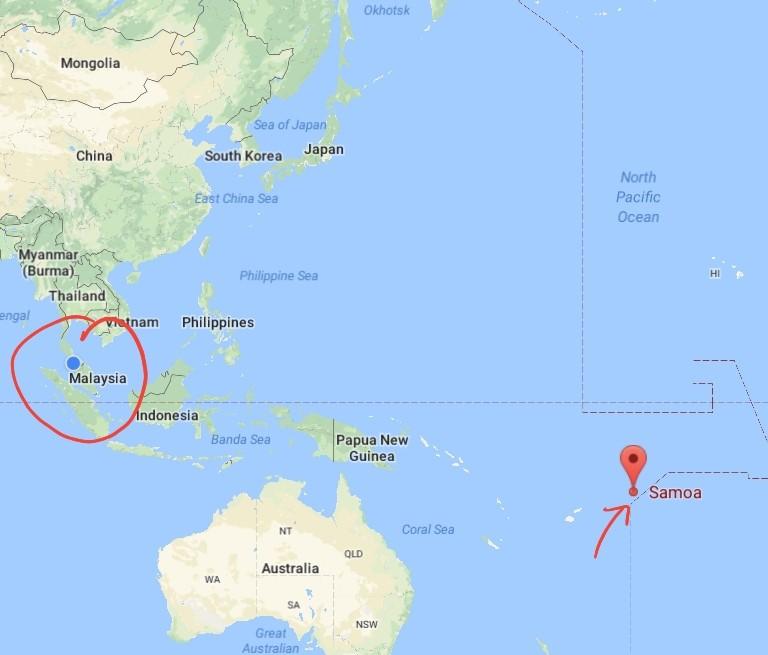 kedudukan samoa dan malaysia