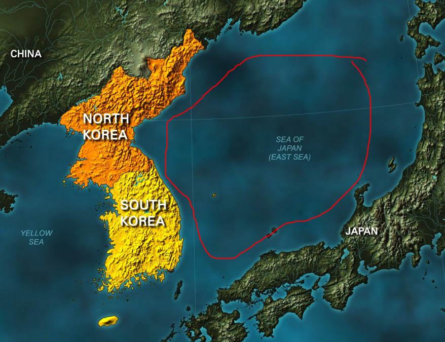 keluar dari korea utara melalui laut jepun