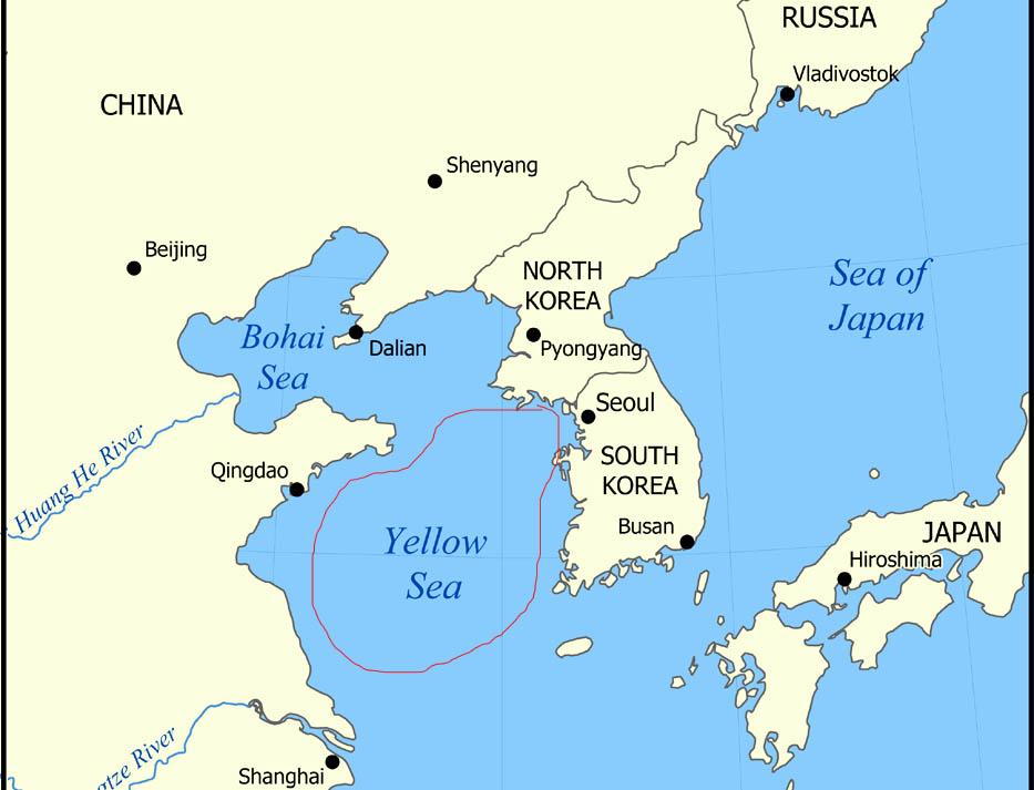 keluar dari korea utara melalui laut kuning