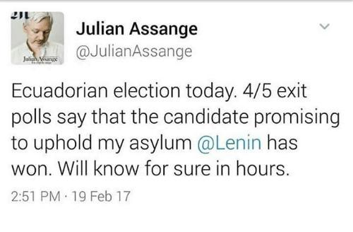 kemenangan lenin moreno memberikan harapan kepada assange