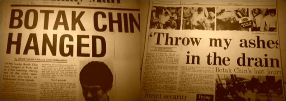 keratan akhbar botak chin dihukum gantung sampai mati