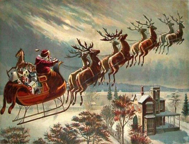 kereta luncur santa dan rusa kutub