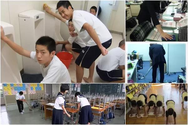kerja kerja pembersihan di sekolah jepun