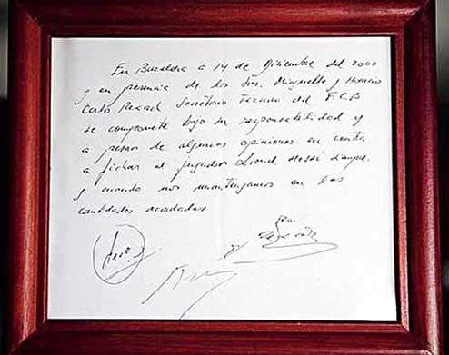 kontrak messi ditulis atas tisu