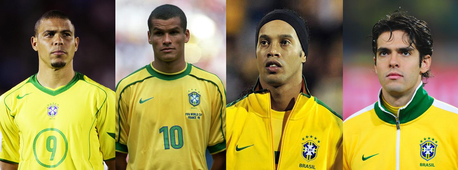 l to r ronaldo rivaldo ronaldinho and kaka