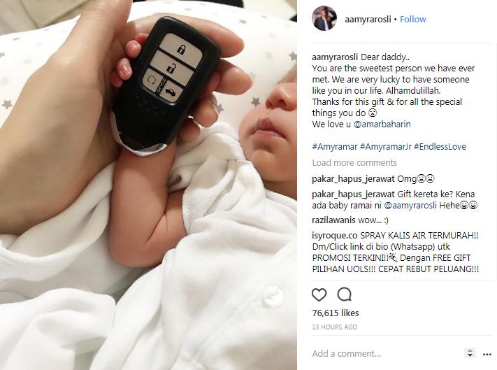 lepas lahir anak amyra rosli dapat hadiah kereta 2